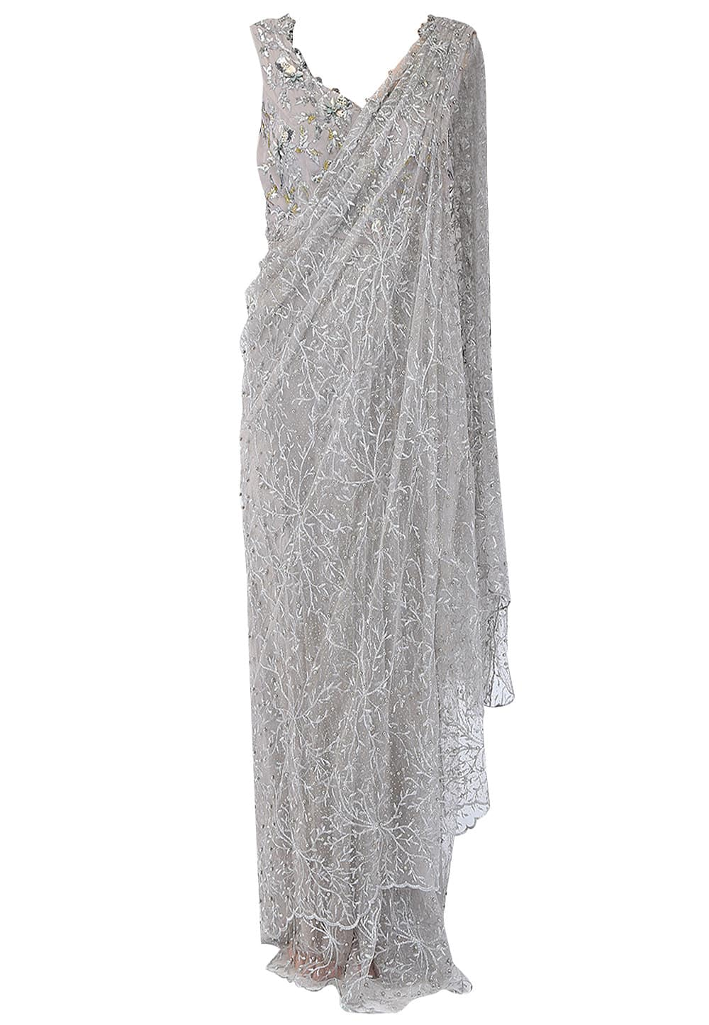 Mist Grey Embroidered Drape Saree Gown Available Only At Ibfw