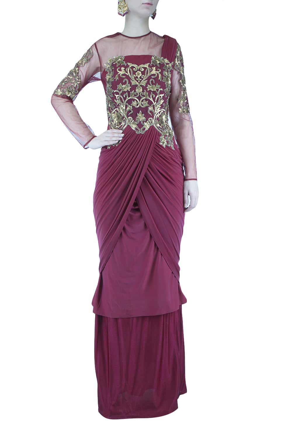 Wine Sequins Embroidered Saree Gown Available Only At Ibfw