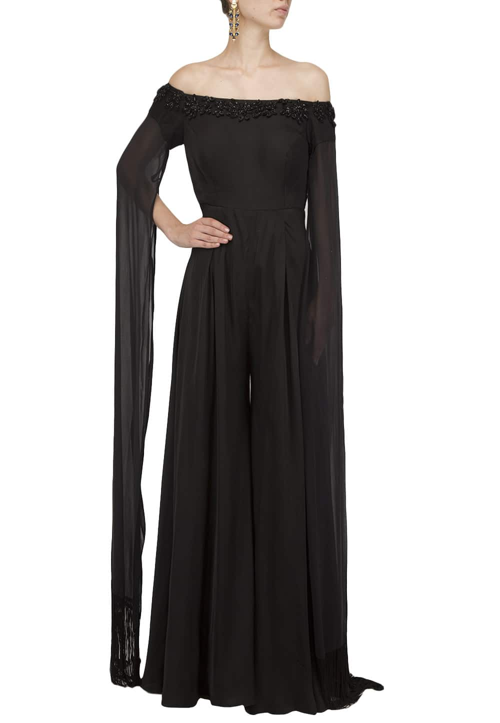 0b820f749273 Black Embroidered offshoulder cape Jumpsuit available only at IBFW