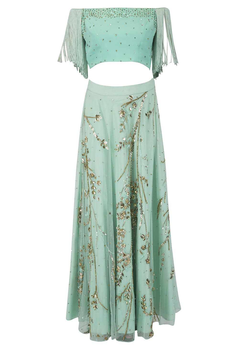 e56741213 Sea Green Off shoulder fringes blouse with lehenga set available only at  IBFW