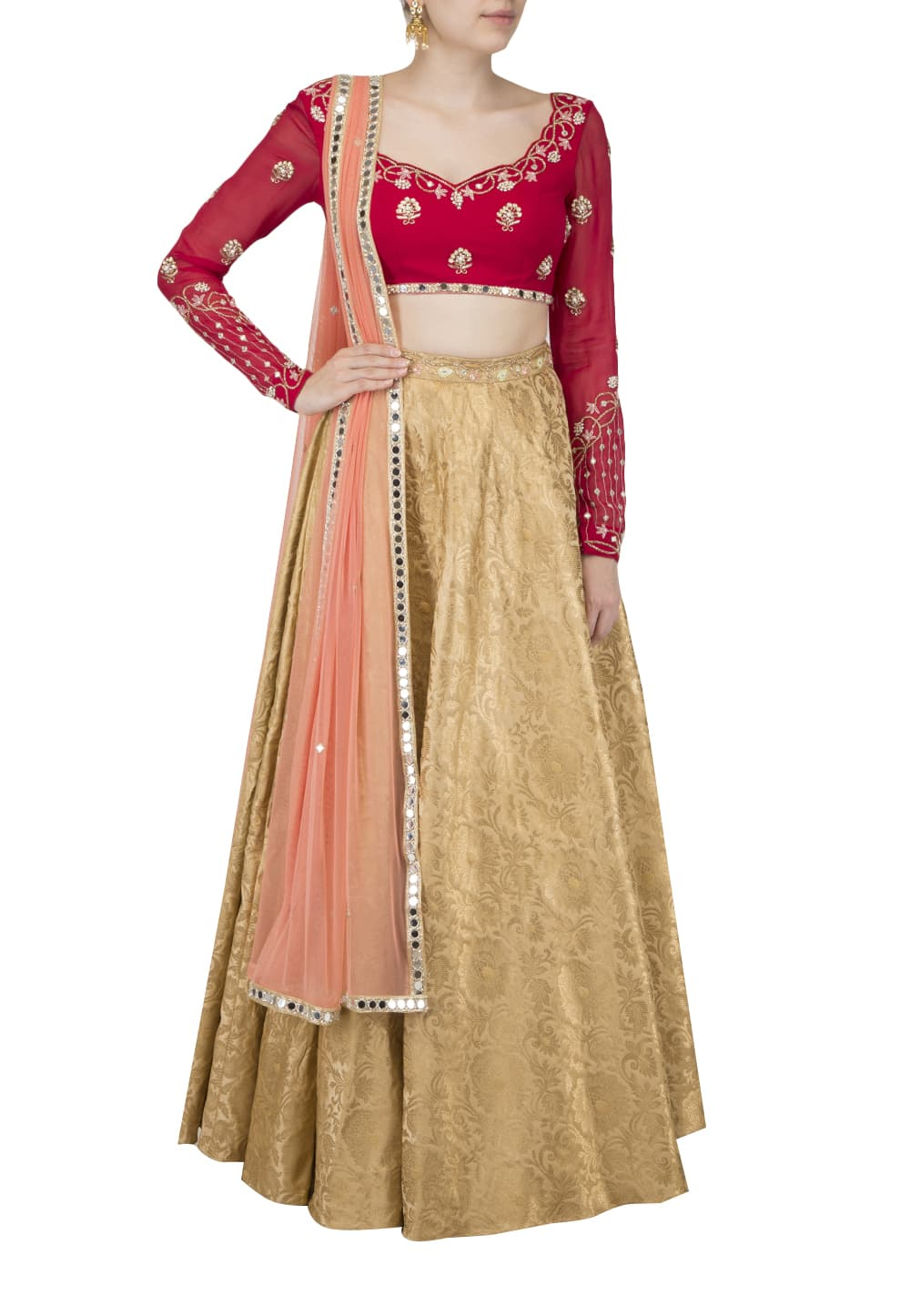 bc3a16190ef Red top and Gold skirt with dupatta available only at IBFW