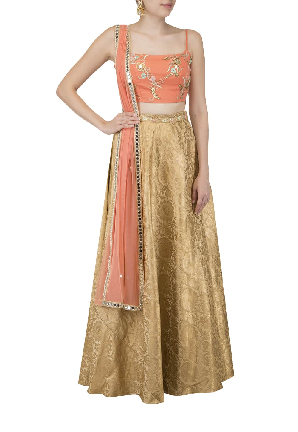 9d82feca829 Tangerine crop top and Gold skirt with dupatta available only at IBFW