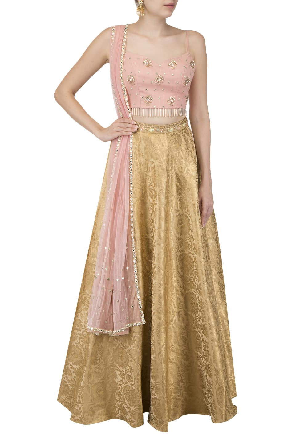 b79aece4528 Gold Skirt with Blush crop top and dupatta set available only at IBFW