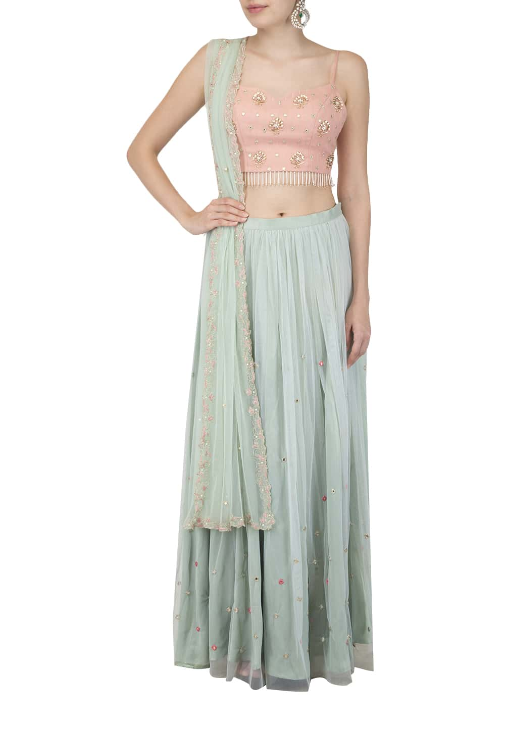 7abd7b7e1f8 Mint Skirt and dupatta with Blush crop top set available only at IBFW