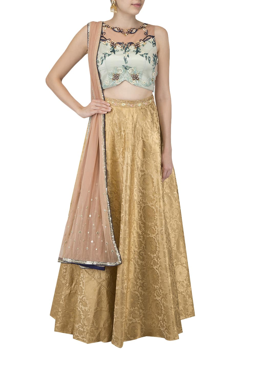 347e68f9426 Renee Label · Mint Blue Blouse, Gold Skirt and Dupatta