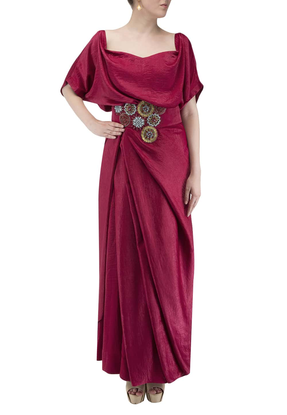 Fuschia Pink Off Shoulder Drape Dress With Embellished Belt Available Only At Ibfw