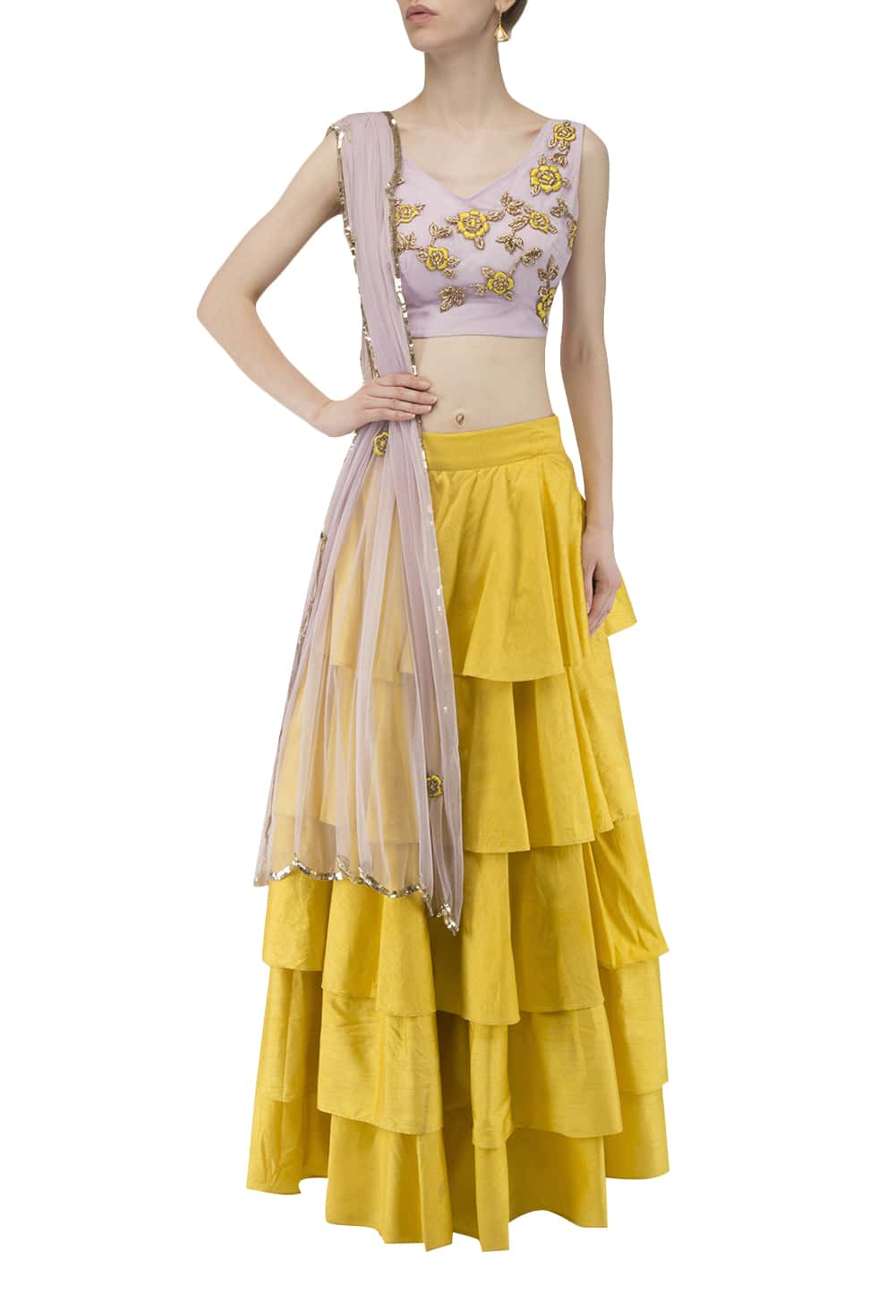 6e4b1ac0fd6311 Pastel pink and gold sequin embroidered blouse, lehenga and dupatta ...