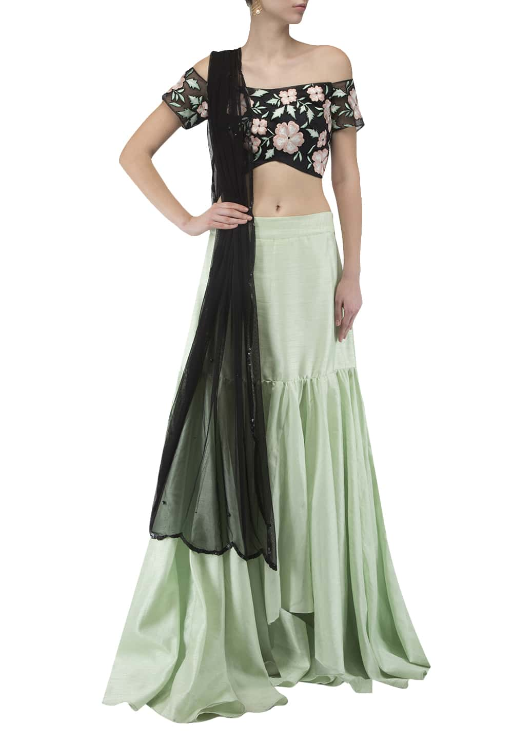 da341cc0295f10 Black embroidered blouse and dupatta with mint green skirt set ...