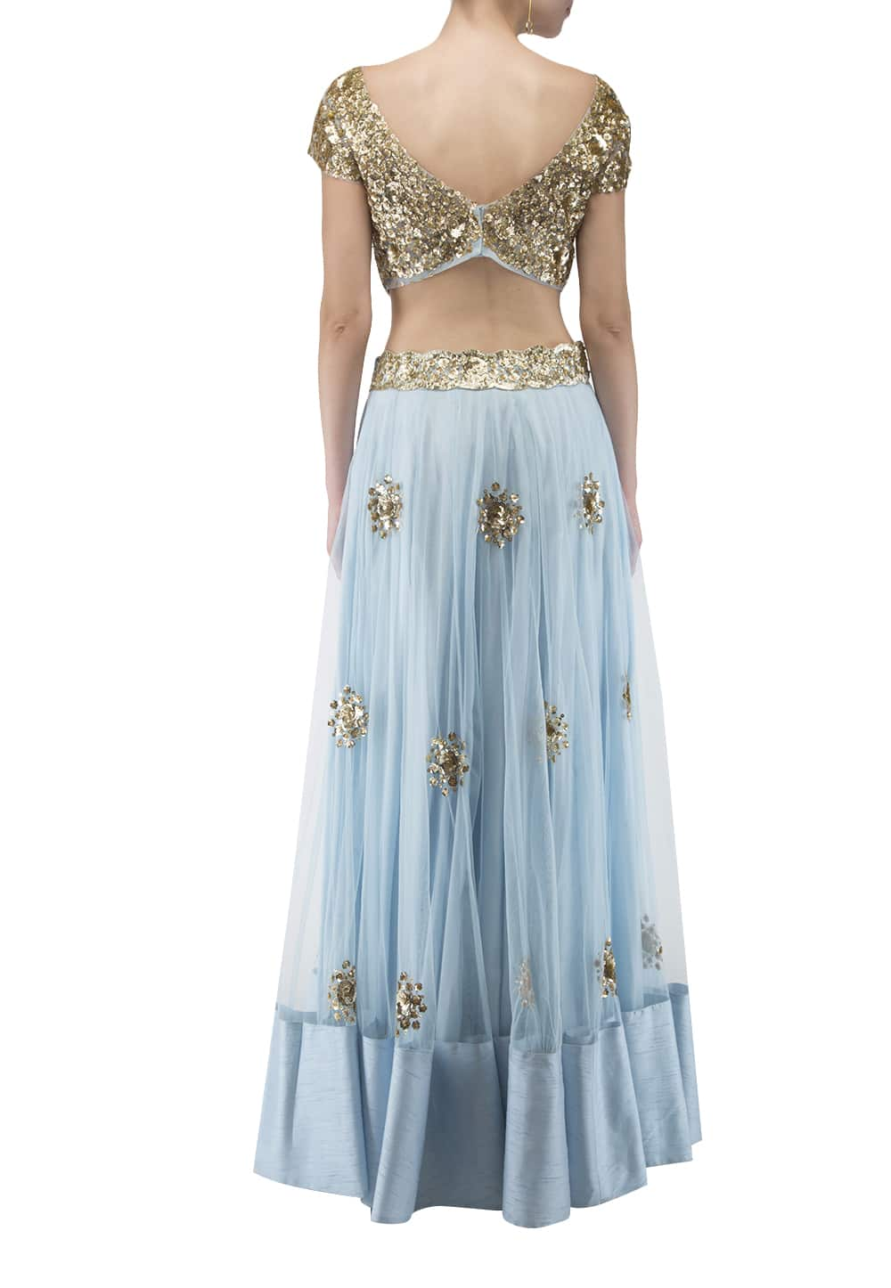 1bc615fb2f4034 Ank by Amrit Kaur. Pastel Blue and Golden Sequin Embroidered Blouse, Lehenga  and Dupatta