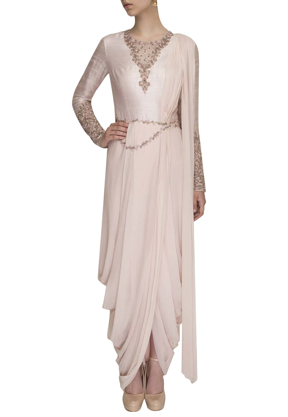 Frozen Pink Drape Dhoti Saree Available Only At Ibfw
