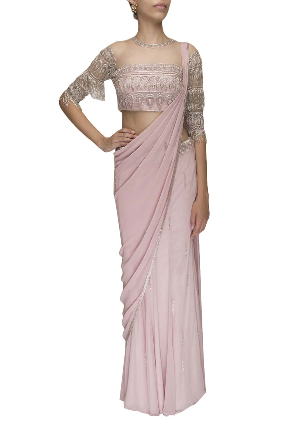 Baby Pink Draped Tassel Saree Available Only At Ibfw