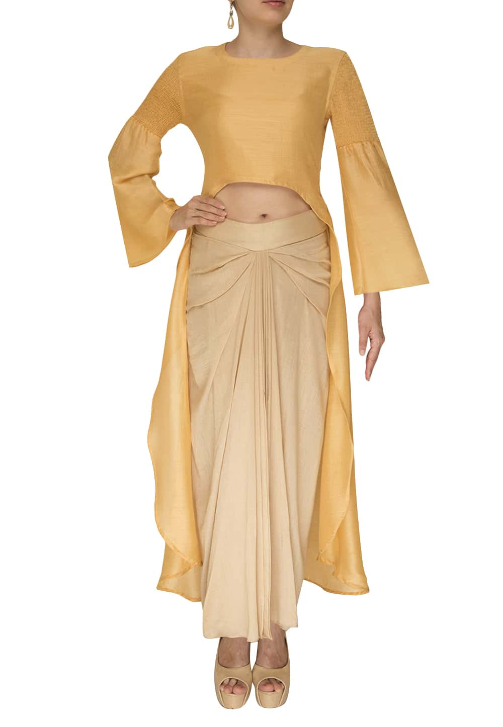 40348161d72a09 Nandita Thirani · Mustard High Low Top Paired with Cream Dhoti Skirt