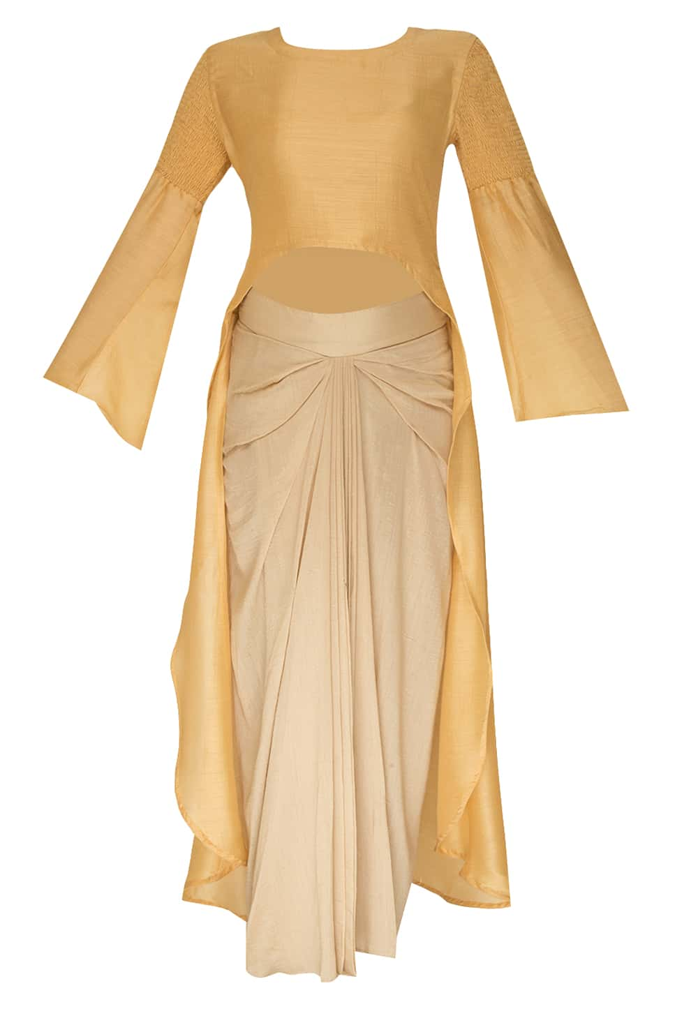a1a8ccb54e7103 Mustard high low kurta with dhoti skirt available only at IBFW