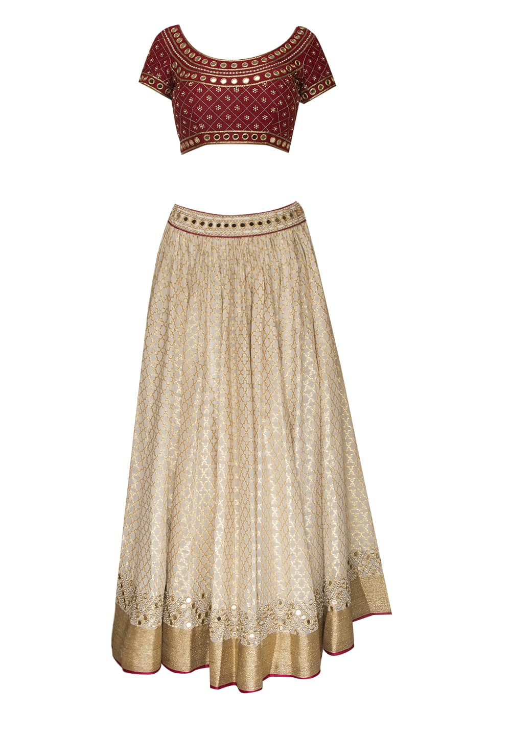 9f37715f679584 Maroon and white mirror work lehenga set available only at IBFW