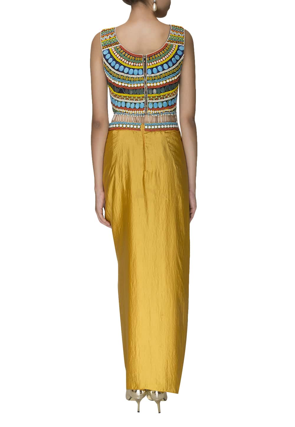 c8f10b2bc0880b Multi color top and mustard dhoti pants available only at IBFW