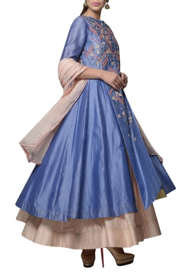 Blue Embroidered Jacket with Soft Pink Skirt Set
