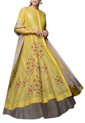 Yellow and Grey Anarkali with Skirt Set