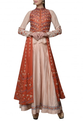 Peach and Orange Embroidered Anarkali with Crop Jacket Set