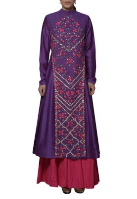 Purple Embroidered Jacket with Pink Skirt Set