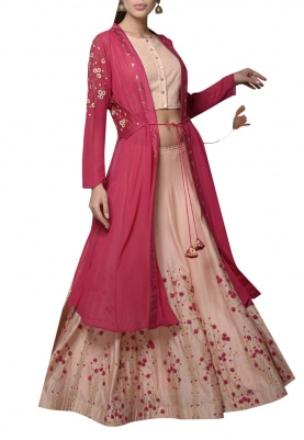 Peach Embroidered Lehenga Set with Pink Shrug