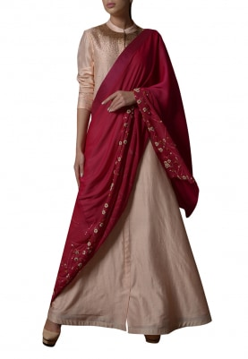 Peach and Rani Pink Embroidered Drape Lehenga Saree