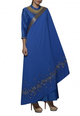 Royal Blue Embroidered Drape Saree