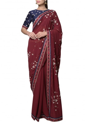 Maroon Embroidered Saree