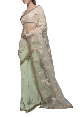 Pastel Green Dori Cutwork Saree