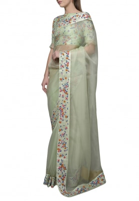 Pastel Green Dori Thread Work Saree