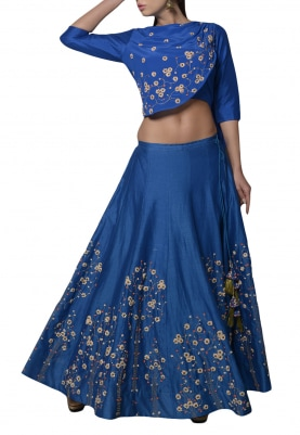 Blue Embroidered Drape Top with Lehenga Set