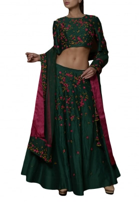Green Thread Work Embroidered Lehenga Set