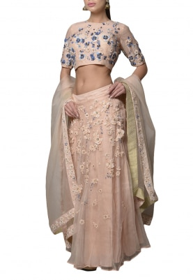 Soft Pink Embroidered Lehenga Set