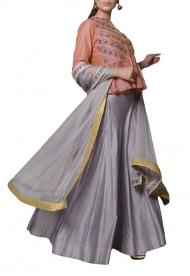 Lobster and Light Grey Lehenga Set