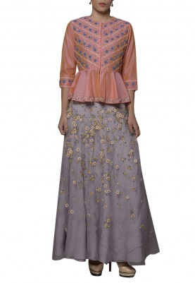 Lobster and Light Grey Embroidered Lehenga Set