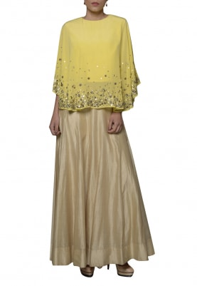 Light Yellow Embroidered Cape Top with Lehenga