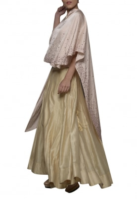 Soft Blush Embroidered Cape Top with Lehenga