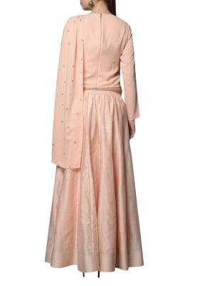 Peach Embroidered Drape Top with Lehenga Set