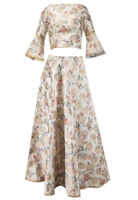 Ivory Digital Printed Skirt And Blouse Set