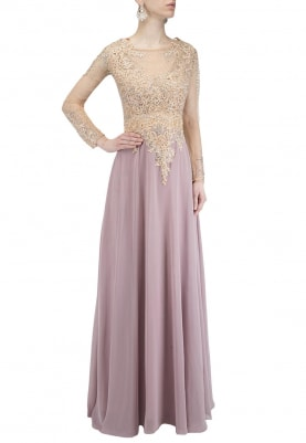 Onion Pink Embellished Torso Flared Gown