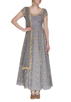 Lilac Heavy Embroidered Anarkali and Dupatta