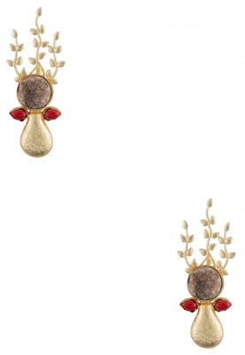 Gold Finish Brown and Red Crystal Earrings