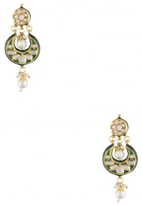 Gold Finish Green Enamelled Chandbali Earrings