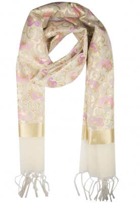 Cream and Golden Kora Jaal Dupatta with Hint Of Pink
