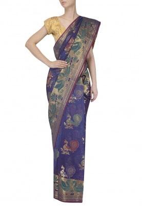 Blue Banarsi Chanderi Cotton Saree with Peacock Figure