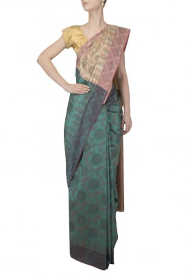 Green and Cream Contrast Chiku Patola Saree