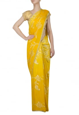 Yellow and Gold Pure Chiffon Saree with Floral All-Over Zari Work