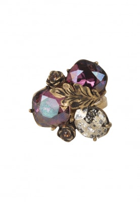 18k Gold Plated Deep Purple and Brown Crystal Studded Ring