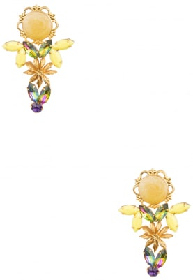 22K Gold Plated Pearl Yellow Enamelled Earrings