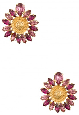 22K Gold Plated Pink and Purple Stone Sunflower Earrings
