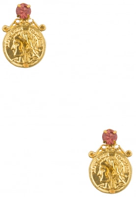 22K Gold Plated Fuschia Stone Coin Earrings